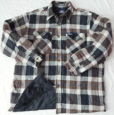 Lined Insulated Quilted Brown Black Tartan Plaid Flannel Shirt - Mens XL Dickies