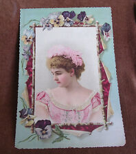 "Edwardian 9 7/8"" x 14 3/4"" Die Cut Placard/Beautiful Young Woman in Pink/Pansies"