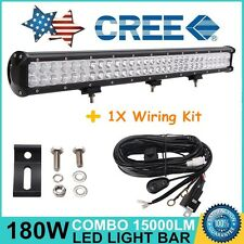 28inch 180W CREE LED WORK LIGHT BAR FLOOD SPOT Combo OFFROAD TRUCK LAMP+ WIRING