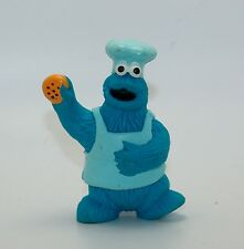 "Vintage Sesame Street Cookie Monster PVC Figure 3"" Tall Chef Hat Tara Toy"