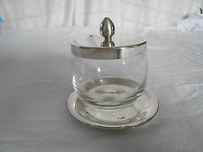 Vintage Napier silver w/glass jam, jelly, condiment jar server