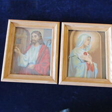 "Vintage 1960s 70s Paint By Number Jesus and Mary 8X10"" paintings framed Set  A47"