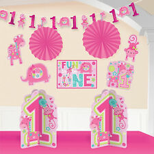 10 Piece Wild Fun To Be One Pink Girl's 1st Birthday Party Room Decorating Kit