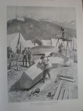 Boat building at lake Lindeman by Julius M Price 1898 old print