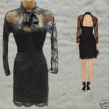 Karen Millen Black Lace Applique Long Sleeve Cocktail Wedding Elite Dress 10 UK