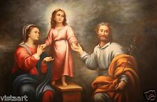 """Quality Oil Painting on Stretched Cloth Canvas 24x36"""" Joseph and Mary with Jesus"""
