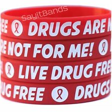 30 Live Drug Free Wristbands - Drugs Are Not For Me Bracelet - Red Ribbon Week