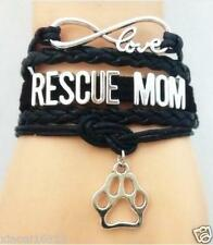 New Infinity Love RESCUE MOM With Paw Print Charms Leather braided bracelet