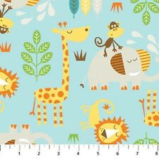 Cotton Kids Safari Zoo Animal Animals Lion Monkey Giraffe Fabric Print D769.30