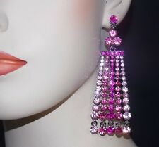 GORGEOUS PINK CRYSTAL CHANDELIER EARRINGS *NEW*