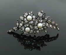 Antique Old Mine Cut Diamond & Natural Pearl Silver & Gold Flower Pin