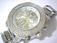 Bling Bling Big Case Hip Hop Techno King Men's Watch Silver Item 2359