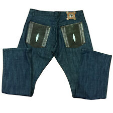 DENIM PANTS REAL STINGRAY TRIMMING, SIZE 34, COLOR BLUE, RETAIL $625, CLEARANCE!