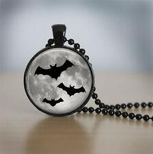 Three Black Bats Cabochon Black Vintage Glass Chain Pendant Necklace