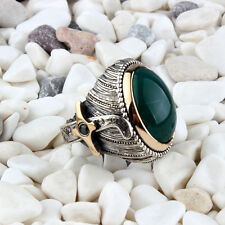 turkish handmade agate akik sword Men's 925 Sterling silver Ring All size