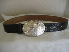 Justin Tooled Cowhide Belt&Sterling Silver Plate Montana Silversmiths Buckle