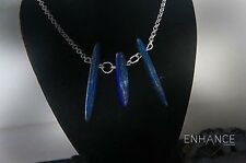 Natural Lapis Lazuli Necklace with 925 Sterling Silver Chain