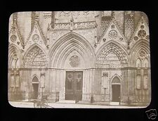 Glass Magic Lantern Slide BAYEUX CATHEDRAL DOORS C1900 FRANCE
