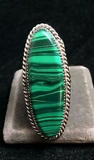 Navajo Silver and Malachite Ring SIZE 12.5 Native American Signed*X935