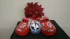 Jr. Funky Feet Clogs/slip-on Croc Red with Snowmen unisex youth 10/11 ~New~