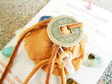 MANIFESTATION CRYSTAL MEDICINE BAG Pocket Size Deer Leather Pouch Reiki Stones