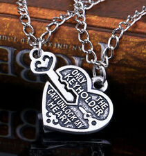 New Nice lock Heart key Charms 42cm couple Necklace Set Friendship Jewlery Gift