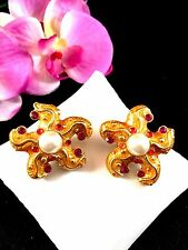 GORGEOUS GEM-CRAFT FAUX PEARL AMETHYST RHINESTONE ENAMEL STARFISH CLIP EARRINGS