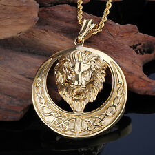 Gold Plated Loin Head Men's Pendant Jewelry 316L Stainless Steel Free Show Chain