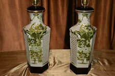 Vintage Antique  KUTANI  Painted Asian Porcelain JAPANESE LARGE Vase Lamps