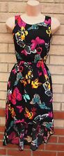 KYLIE BLACK MULTI COLOR BUTTERFLY PRINT LONG DRAPE BACK SKATER A LINE DRESS 4