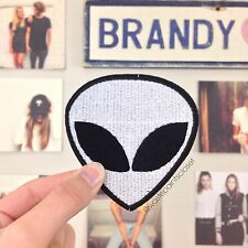 Large White Alien Head Iron On Patch Retro 90S + Free Brandy Melville Stickers!