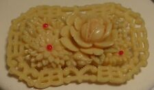 Brooch Celluloid Vintage Pink Roses Lacey Edges Made in Occupied Japan 1930s