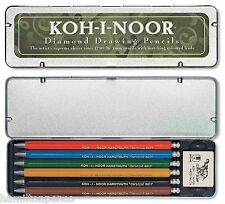 Koh-i-noor Diamante 2mm Dibujo Lápices-Lata De 6 De Color Plomo Embrague lápices.