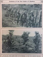 1917 FLANDERS OFFENSIVE STRETCHER BEARERS; IRISH GUARDS GOING UP LINE WWI WW1