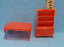 Vintage Set of 2 Doll House Furniture Plasitc Orange Kitchen Table & China Hutch