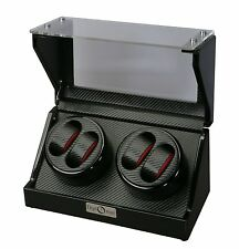 Diplomat Quad 4 Watch Winder Black Finish w/ Carbon Fiber Interior 31-476