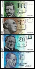 FINLAND 4 PCS SET 100 50 20 10 MARKKAA 1986 - 1997 UNCIRCULATED