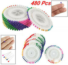 Needlework Assorted Color Faux Pearl Head Sewing Corsage Pins 480 Pcs * Needle..