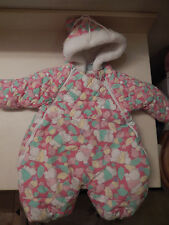 Bright Future Baby Girl Red one piece Snowsuit covered in teddy bears 6-9 Months