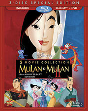 Mulan & Mulan II (Blu-ray + DVD, 3-Disc, Mulan 15th Anniversary Edition) New Blu