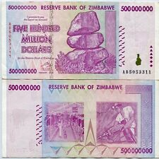 ZIMBABWE 500 MILLION DOLLAR 2008 P 82 CIRCULATED USED in 50 100 TRILLION SERIES