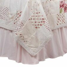 vintage PINK Simply Shabby CHIC bed skirt dust ruffle queen french cottage