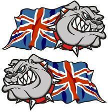 Handed Pair British Bulldog & Union Jack British GB Flag car sticker 50mm sml