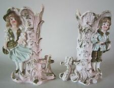 Antique Victorian Colored Bisque Porcelain BOY & GIRL SPILL VASE Fairing Pair 4""