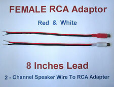 2 Channel Speaker Wire RCA Adapter For Amp Receiver Powered Speakers Female R-W