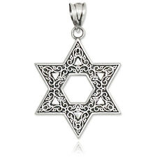925 Vintage Oxidized Sterling Silver Star of David Ornament Pendant