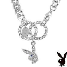 Playboy Bracelet Interlocking Infinity Circles Swarovski Crystal Bunny Charm HTF