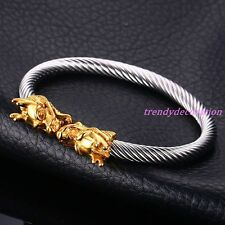 Punk Silver Gold Men's Stainless Steel Dragon Cuff Bangle Bracelet Jewelry Gift