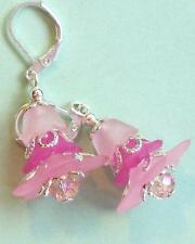 light dark PINK ACRYLIC FLOWERS ROSE crystal SP LEVERBACK handcrafted