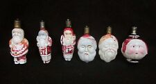 Vintage Milk Glass Santa Lot of 6  Full Body & Double Face Christmas Light Bulbs